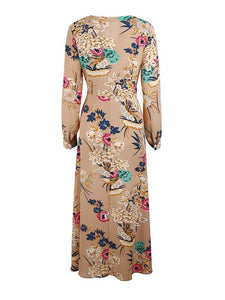 Holiday Wind Print V-Neck Long Sleeve Belt Maxi Dress