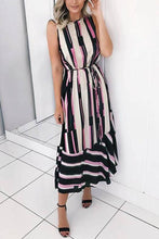 Load image into Gallery viewer, Sexy Stripe Sleeveless Vacation Maxi Dress