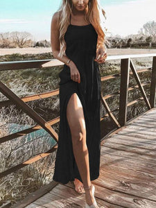 Boat Neck Sling Split Long Maxi Dress