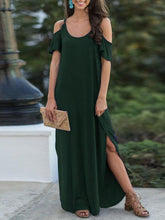 Load image into Gallery viewer, Drop-Shoulder Short-Sleeve Solid Maxi Dress