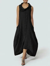 Load image into Gallery viewer, Cowl Neck  Single Breasted  Plain Maxi Dress