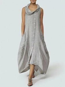 Cowl Neck  Single Breasted  Plain Maxi Dress