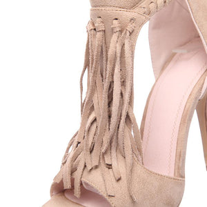 High Heel Tassel Sandals