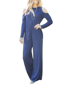 Ruffled Strapless Long-Sleeved Wide-Leg Jumpsuit