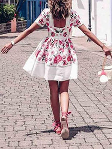 British Style Print Pleated Skater Dress