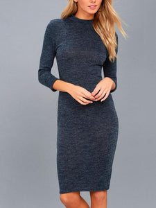 Round Neck Seven-Minutes Sleeves Solid Color Bodycon Dress