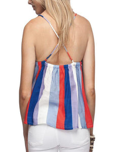 Casual Colorful Striped Tube Top Sleeveless Ruffled Sling Shirt
