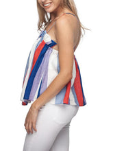 Load image into Gallery viewer, Casual Colorful Striped Tube Top Sleeveless Ruffled Sling Shirt