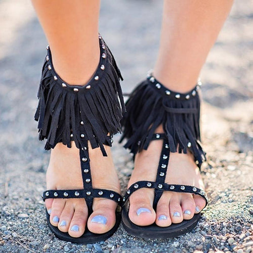 Fringe Flat Bottom Rivet Outer Code Large Size Ladies Sandals