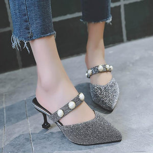 Fashion Casual Metal Pointed Slippers
