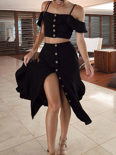Sexy Sling Ruffled And Slim Skirt Two-Piece Suits