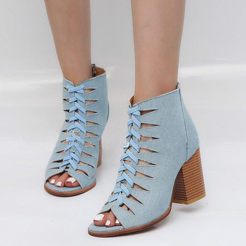 Fashion Fish Mouth High Heel Short Boots