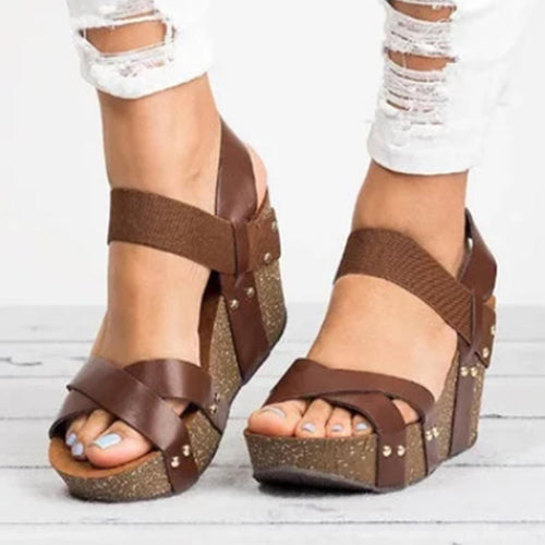 Plain  High Heeled  Ankle Strap  Peep Toe  Date Wedge Sandals