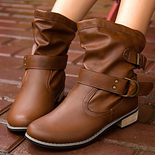 Round Head Low Heel Tube Buckle Martin Boots
