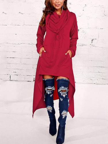 Fashion Solid Color Long Hoodie