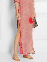 Load image into Gallery viewer, Sexy V Neck High Split Tassel Printed Causal Maxi Dress