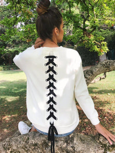 Solid Color Round Neck Personality Back Strap Long Sleeve Hoodie
