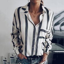 Load image into Gallery viewer, Striped Loose V Neck Blouses
