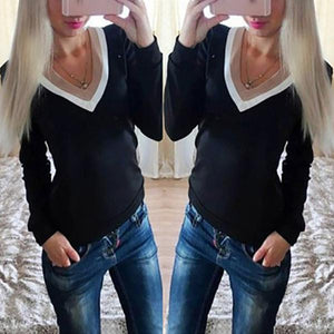 Double V-Neck Fashion Wild Stitching Long-Sleeved T-Shirt