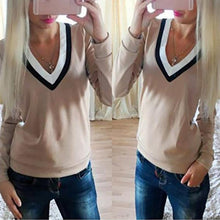 Load image into Gallery viewer, Double V-Neck Fashion Wild Stitching Long-Sleeved T-Shirt