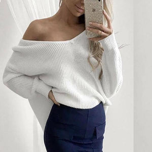 Long Sleeve Shoulder Top Fashion Strapless  Sweater