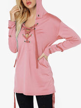 Load image into Gallery viewer, Fashion Strap Casual Long Sleeve Loose Hoodie