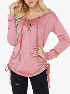 Fashion Strap Casual Long Sleeve Loose Hoodie
