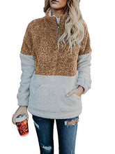 Load image into Gallery viewer, Contrast Color Stitching Plush Zipper Stand Collar Sweater
