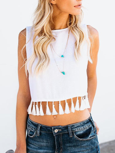 Round Neck Loose Tassel Fashion Sleeveless Cotton T-Shirt