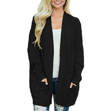 Load image into Gallery viewer, Medium Long Double Pocket Twist Knit Cardigan