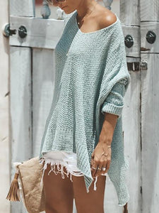 Casual Loose Round Neck Strapless Knitting Sweater