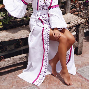 Sexy V Collar Embroidery Long Sleeve Vintage Dress Maxi Dress