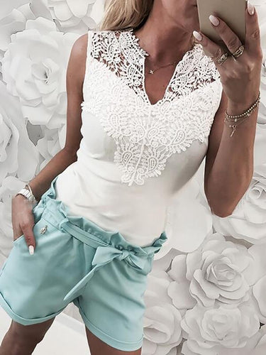 Solid Color Stitching Lace V-Neck Shirt