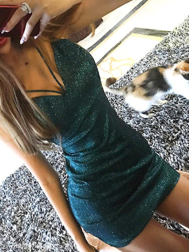 Sexy V-Neck Nightclub Shinny Bodycon Dress