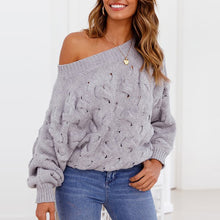 Load image into Gallery viewer, Sexy One Shoulder Plain Casual Sweater