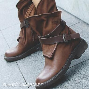 Fashion Vintage Buckle Women's Boots