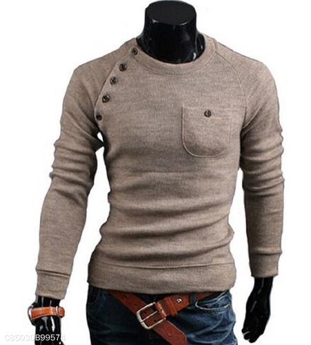 Irregular Button Stitching Solid Color Sweater 5 Colors
