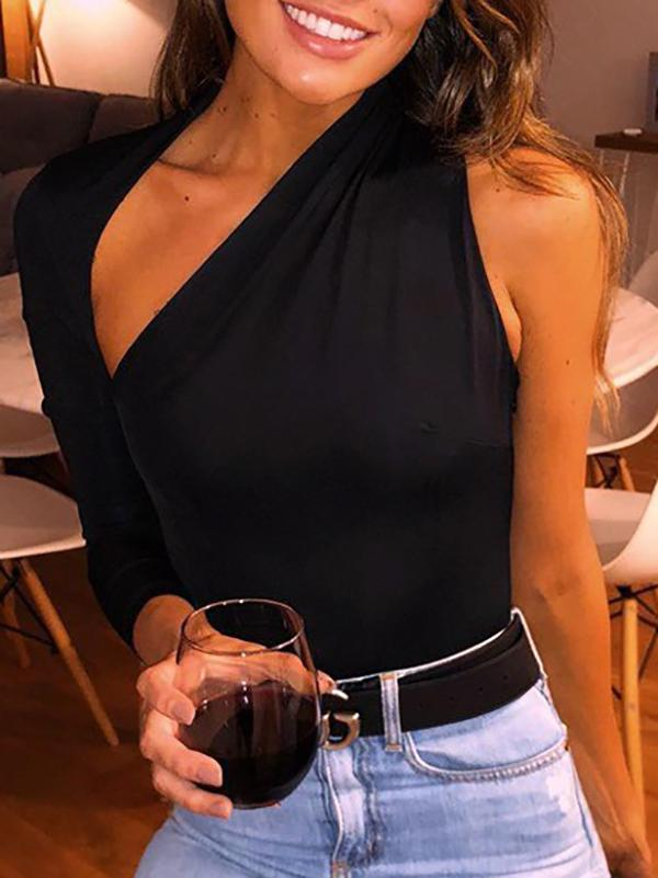 Sexy One-Shoulder Tight One-Piece Shirt
