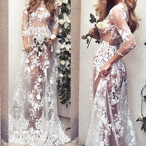 Sexy Transparent Long Sleeve Lace Nightdress