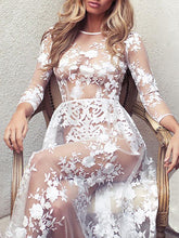 Load image into Gallery viewer, Sexy Transparent Long Sleeve Lace Nightdress