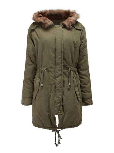 Winter Drawstring Hooded Cashmere Padded Coat