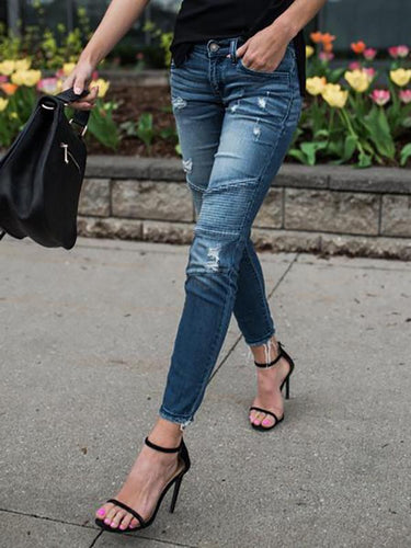 Elastic Ripped Denim Pencil Pants
