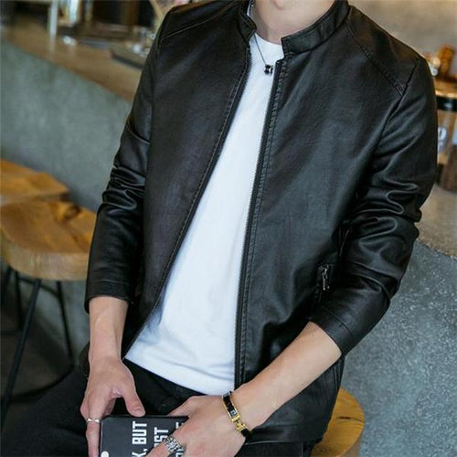 Fashion Casual Youth Leather Slim Plain Zipper Men Jacket Outerwear