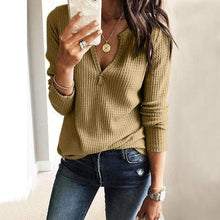 Load image into Gallery viewer, Fashion V-Neck Long Sleeve Knit T-Shirt