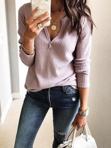 Fashion V-Neck Long Sleeve Knit T-Shirt