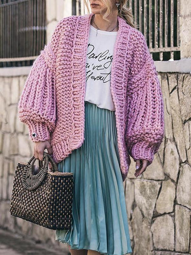 Winter Loose Fit Lantern Sleeve Sweater Cardigan