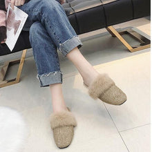 Load image into Gallery viewer, Women Winter Square Head  Flip Flop  Muller Shoes