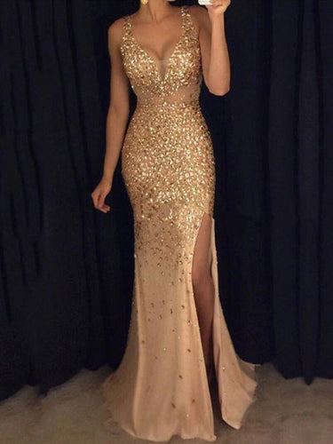 V-Neck  Side Slit  Glitter Maxi Dresses