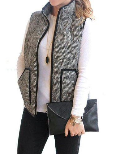 Women Autumn Fashion Chevron Printed Vest