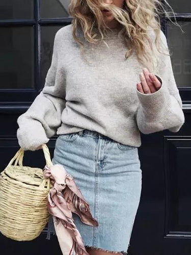 Loose Round Neck Pullover Tufted Knit Sweater